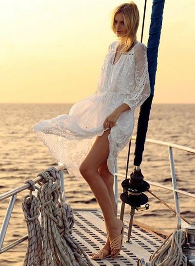 V Neck Long Sleeve Floral Lace Dress STYLESIMO.com