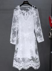 V Neck Long Sleeve Floral Lace Dress
