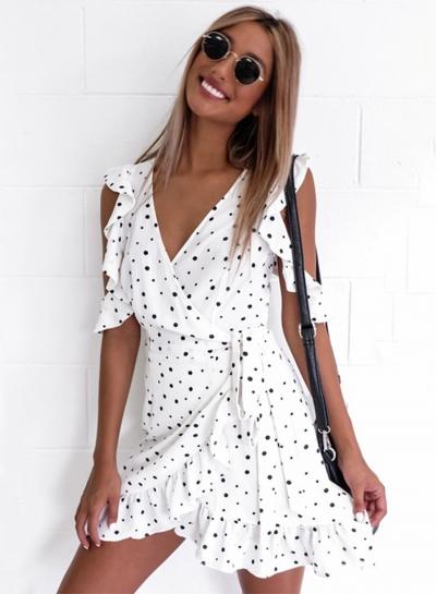 V Neck Off Shoulder Polka Dots Ruffle Dress