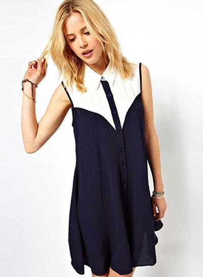 Casual Sleeveless Color Block Mini Chiffon Dress