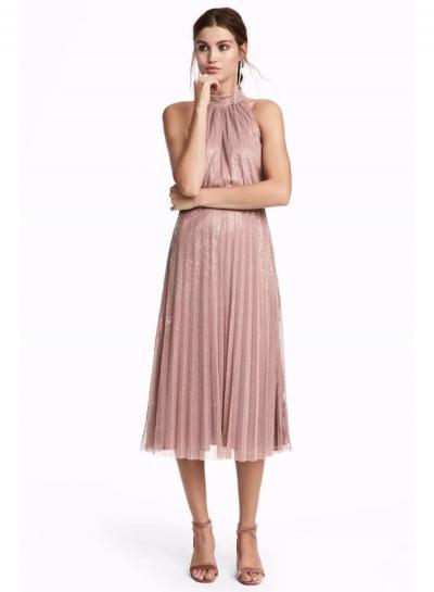 Halter Sleeveless Sequins Midi Dress