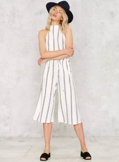 Stripe Halter Backless Wide Leg Cropped Jumpsuit