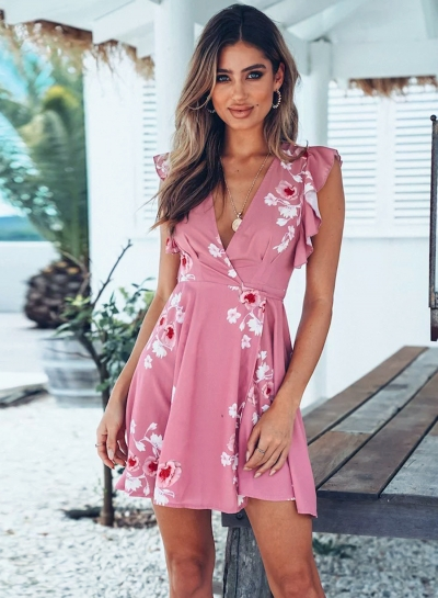 V Neck Ruffle Sleeve Floral Mini Dress