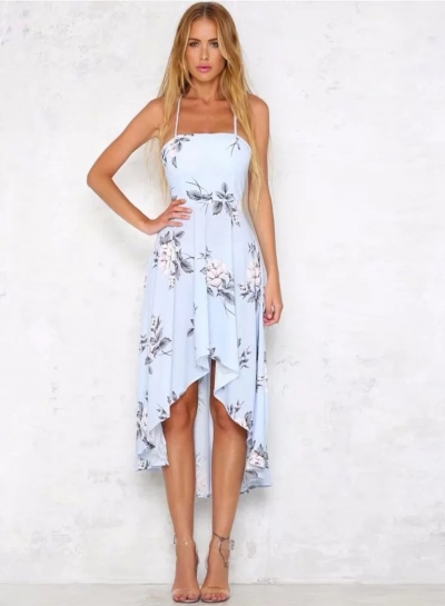 0c1563f8d Spaghetti Strap Backless Floral High Low Dress - STYLESIMO.com