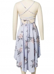 Spaghetti Strap Backless Floral High Low Dress