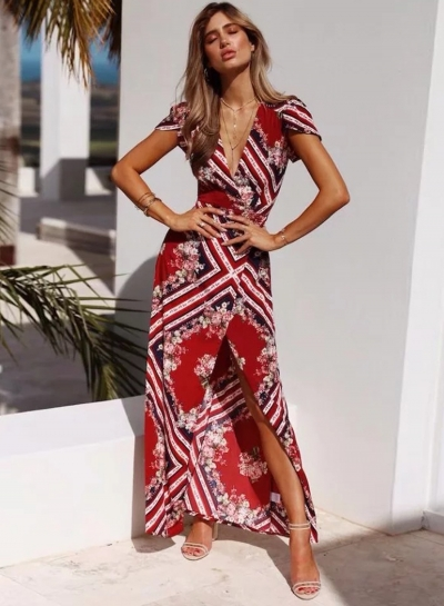 Boho V Neck Short Sleeve Floral High Slit Maxi Dress