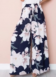 Fashion High Waist Floral Wide Leg Pants