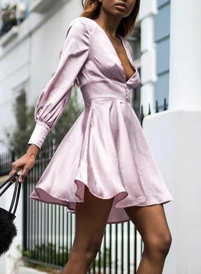 Deep V Neck Long Sleeve Pleated Dress
