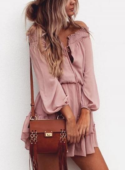 Off Shoulder Long Sleeve Chiffon Dress
