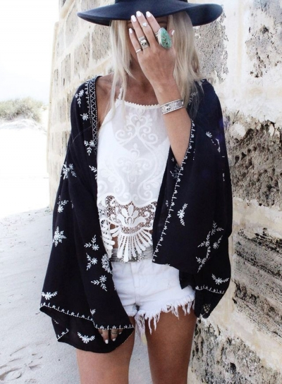 Fashion Open front Bikini Cover-up Kimono