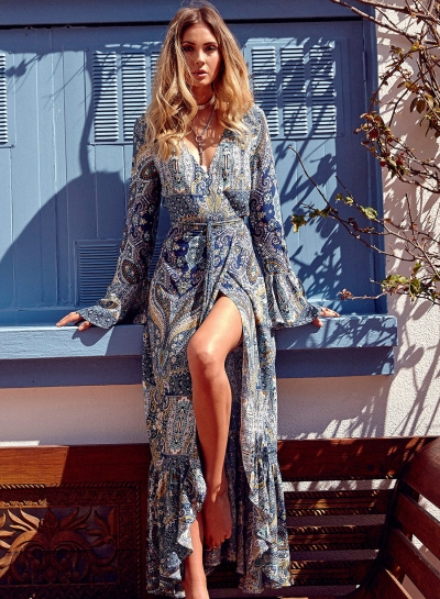 Boho V Neck Flare Sleeve Slit Maxi Dress