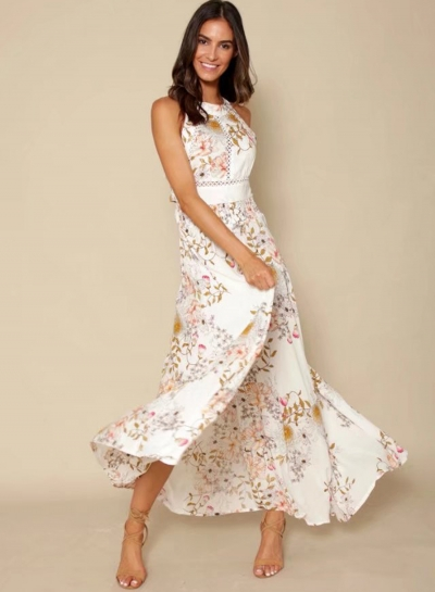 Boho Floral Halter Slit Maxi Dress