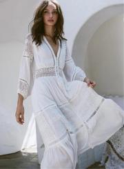 Fashion V Neck Long Sleeve Lace Maxi Dress