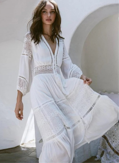 Fashion V Neck Long Sleeve Lace Maxi Dress