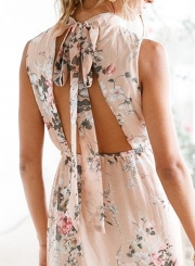 Fashion Sleeveless Floral Slit Maxi Chiffon Backless Dress