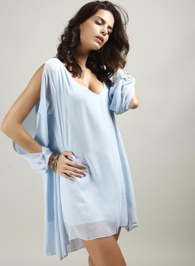 V Neck Slit Sleeve Chiffon Mini Dress