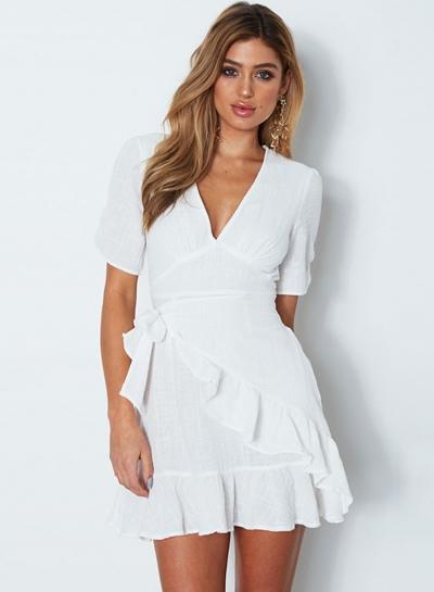 V Neck Short Sleeve Ruffle Mini Dress STYLESIMO.com