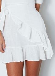 V Neck Short Sleeve Ruffle Mini Dress