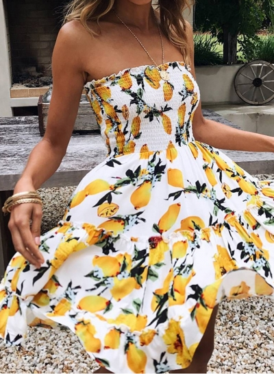 Fashion Strapless Lemon Printed Dress