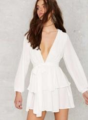 Fashion V Neck Long Sleeve Ruffle Chiffon Dress