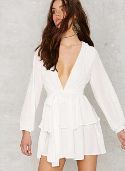Fashion V Neck Long Sleeve Ruffle Chiffon Dress