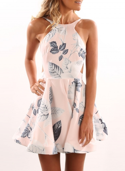 Halter Backless Floral Mini Dress