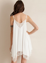 Sleeveless Irregular Lace Trim Dress