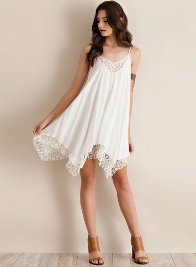 Sleeveless Irregular Lace Trim Dress STYLESIMO.com