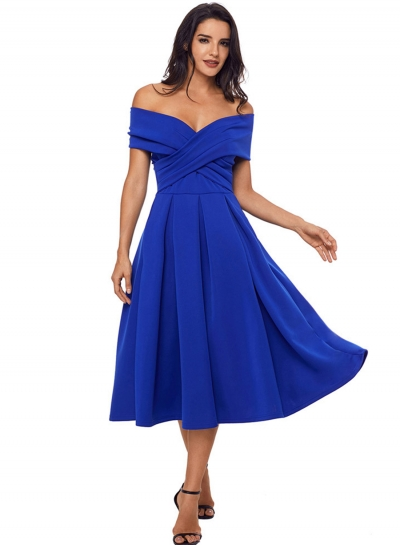 Fashion Off Shoulder Midi Pleated Party Dress