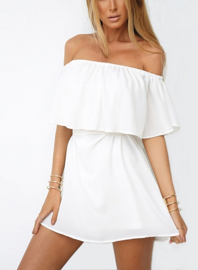 Fashion Off Shoulder Ruffle Dress