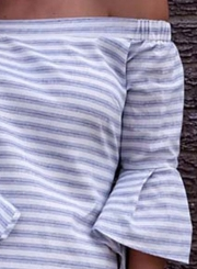 Off Shoulder Flare Sleeve Stripe Dress