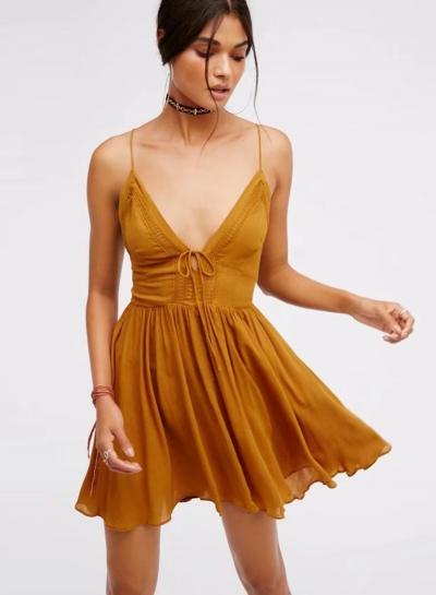 V Neck Sleeveless Mini Pleated Dress