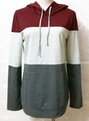 Casual Long Sleeve Color Block Pullover Hoodie