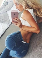 Fashion High Waist Denim Leggings Jeans
