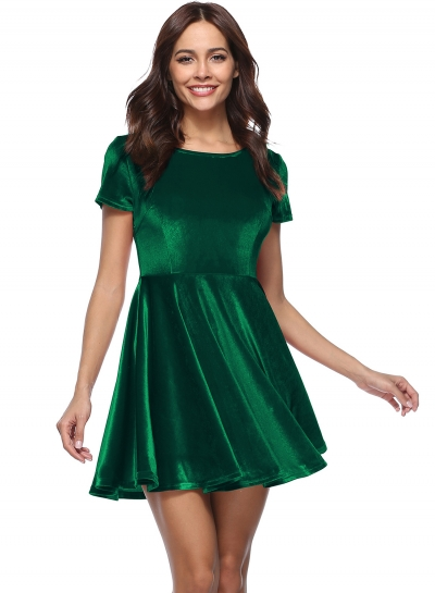 Short Sleeve A-line Velvet Dress