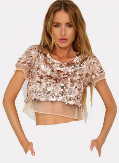 Fashion Short Sleeve Sequins Cropped Tee