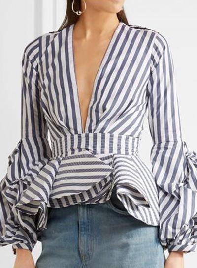Fashion Deep V Neck Puff Sleeve Stripe Peplum Blouse