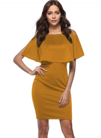 Ruffle Bodycon Pencil Dress