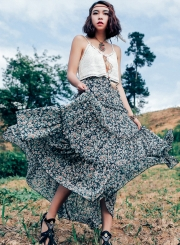 Fashion High Waist Floral Maxi Chiffon Skirt