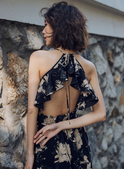 V Neck Sleeveless Backless Floral Maxi Dress