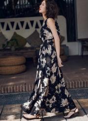 V Neck Sleeveless Backless Floral Maxi Dress