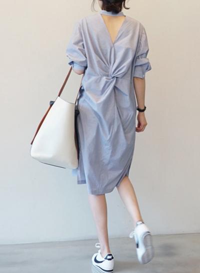 Fashion Half Sleeve Backless Stripe Dress