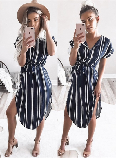 Short Sleeve Stripe Irregular Shirt Dress with Belt