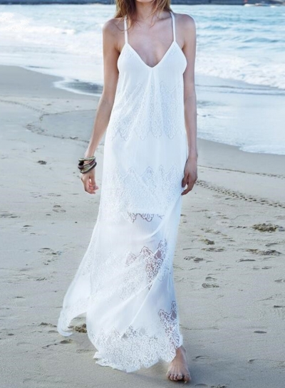 V Neck Sleeveless Slit Maxi Lace Dress OP252931-8
