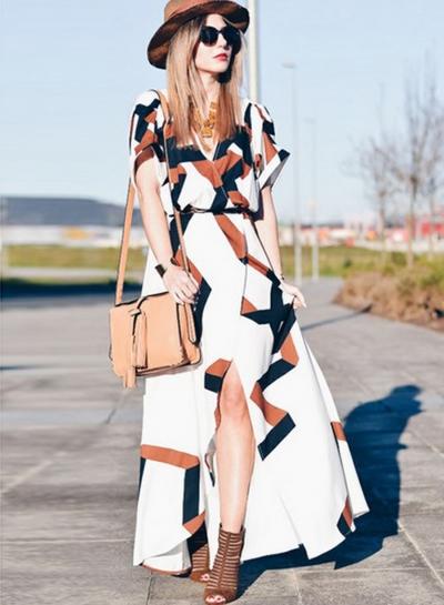 V Neck Short Sleeve Digital Print Slit Maxi Dress