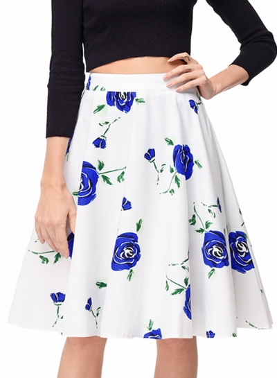 Fashion High Waist Floral A-line Skirt