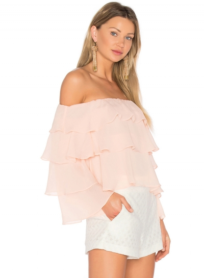 Off Shoulder Long Sleeve Ruffle Blouse