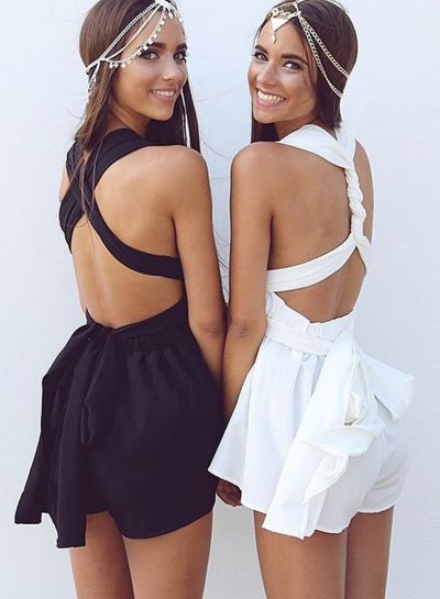 Fashion Backless Sleeveless Solid Romper