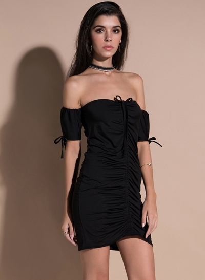 Strapless Short Sleeve Ruched Bodycon Dress
