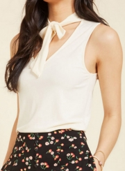 V Neck Tie front Sleeveless Tank